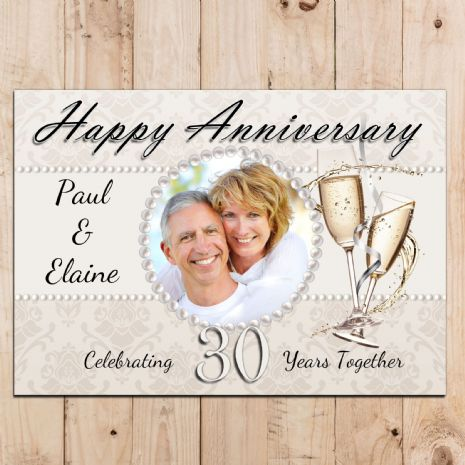Personalised Pearl 30th Wedding Anniversary Party PHOTO Poster N50